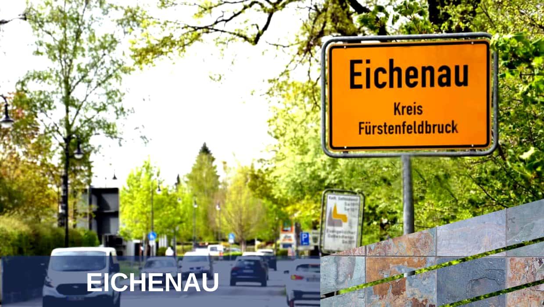 Eichenau - Einfahrt mit dem Schild Eichenau Kreis Fürstenfeldbruck